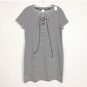 Cabi navy & white stripe lace up t-shirt dress M